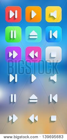 Long Shadow Icons. Icons set for media player. Vector