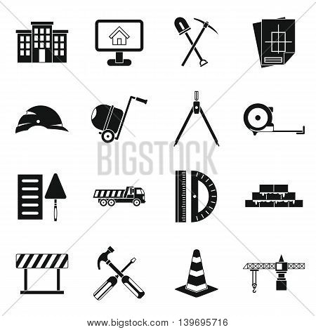 icons set in simple style. Building tools set collection vector illustration
