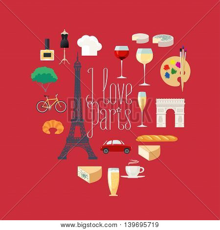 Travel to France, Paris vector icons set in heart shape. French, Parisian landmarks, Eiffel tower, arch Triumph, architecture buildings, dress, croissant, baguette. I love Paris quotation