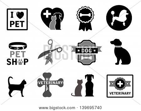 set of isolated veterinary concept icons on white background