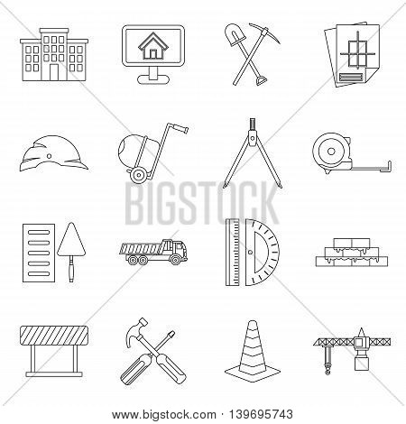 Construction icons set in outline style. Building tools set collection vector illustration