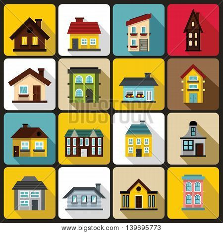 House icons set in flat style. Real estate set collection vector illustration