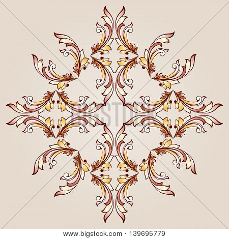Flower pattern of brown henna on the beige background