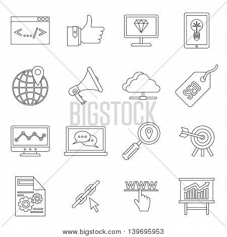 SEO icons set in outline style. Internet services set collection vector illustration
