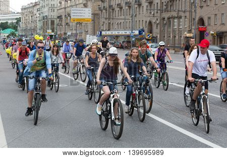 RUSSIA MOSCOW - MAY 31 2015 - Cyclists on the Moscow cycle parade. Cycle parade took place in support of development of bicycle infrastructure and for safety on roads.