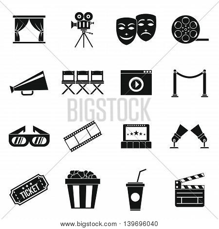 Cinema icons set in simple style. set collection vector illustration