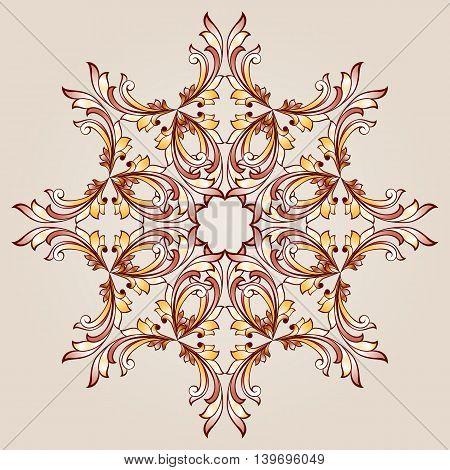 Flower pattern element of brown henna on beige background