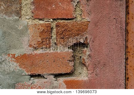 Old brick wall with aging effects and cracks