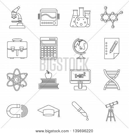 Education icons set in outline style. Science set collection vector illustration