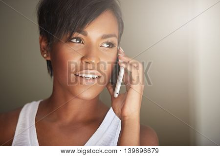 Technology And Communication Concept. Close Up Shot Of Beautiful Dark-skinned Brunette Woman With Sh