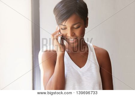 Isolated Headshot Of Beuatiful Young Brunette African Woman Talking On Mobile Phone, Inviting Her Fr