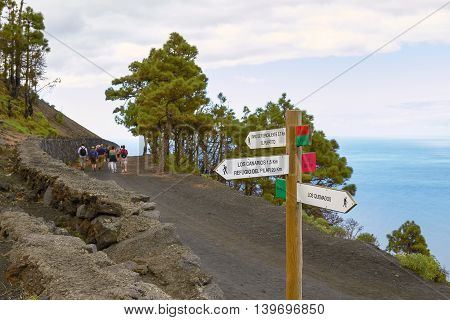 People Hiking And Taking Volcanic Tour On Las Palmas At Canary Islands In Spain