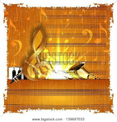 Music background with a gold treble clef piano and saxophone on the old music paper with texture and bright flash. It can be used with any image on a white background.
