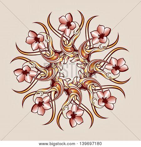 Flower pattern element of brown henna on the beige background