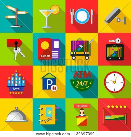 Hotel icons set in flat style. Travel set collection vector illustration
