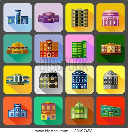 Public buildings icons set in flat style. Urban building set collection vector illustration