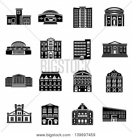Public buildings icons set in simple style. Urban building set collection vector illustration