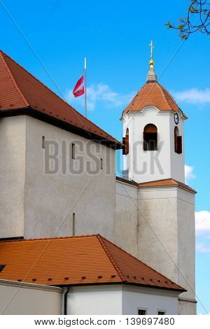 Brno, Czech Republic - April 29, 2016: Spilberk castle tower view at sunny day