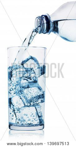Glass and plastic bottle of water isolated on white background