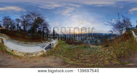 360 panorama of the view from Acropolis Park (Parcul Cetățuia *** Fellegvár) at sunrise in Cluj-Napoca, Romania.