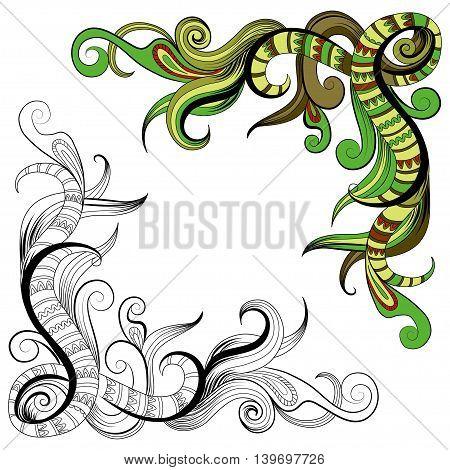 Sketchy doodles decorative floral outline for design