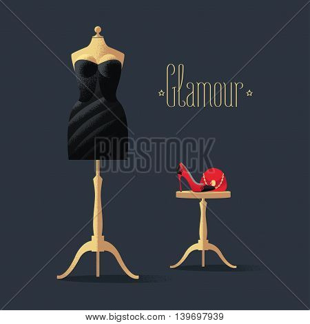 Fashion vector illustration with little black dress, high heels shoe and bag. Glamour sign on black background. Design element with mannequin in black dress for poster