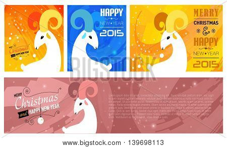 Set of Merry Christmas and Happy new year cards for 2015 year of Goat and Sheep