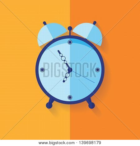 Illustration of Alarm clock flat icon over yellow. Modern flat icon in stylish colors. Web site page and mobile app design element.