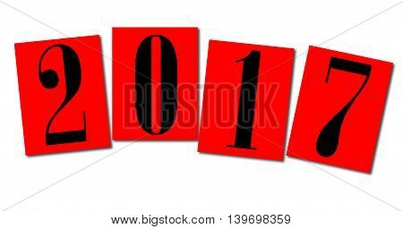 The number 2017 on red cards for the new year over a white background