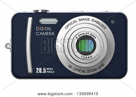 3D render illustration of compact digital photo camera with zoom lens isolated on white background