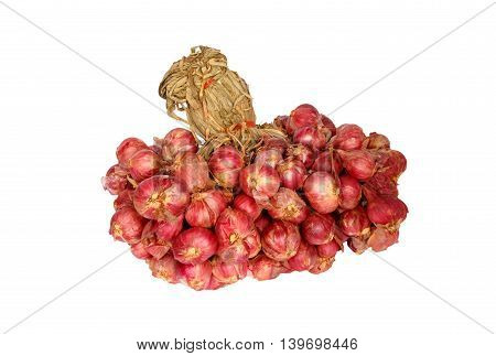 Group of red onion isolated on white background, Asian herb.
