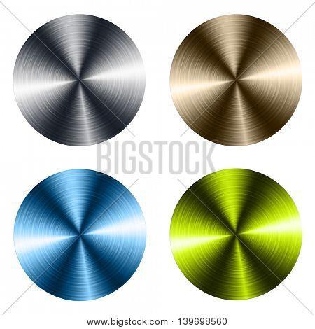 Circular metallic vector plates, metal textures.