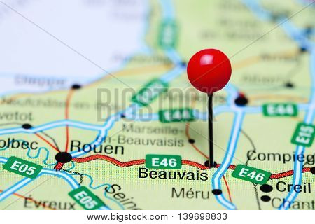 Beauvais pinned on a map of France