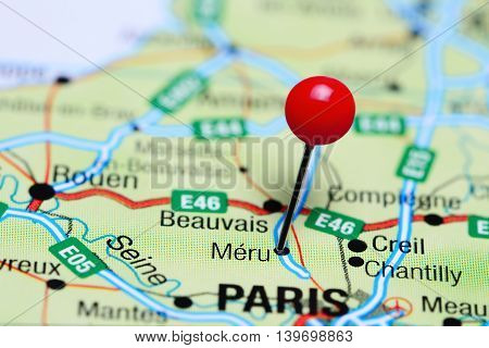 Meru pinned on a map of France