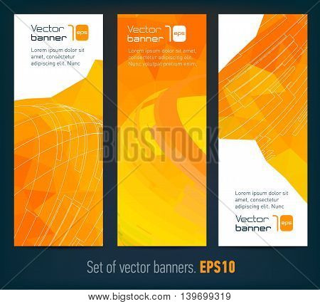 Set of banners with abstract background and text. Modern design templates. Vector illustration.