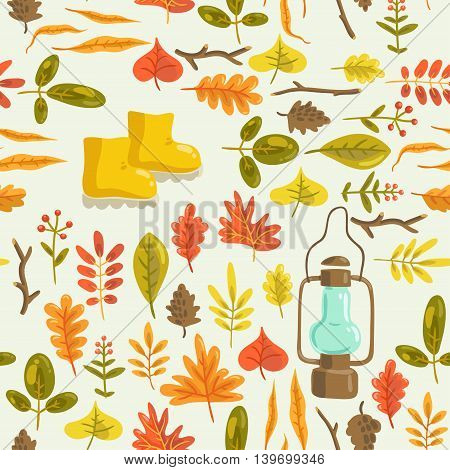 Hello autumn. vector seamless pattern with autumn leaves, rubber boots and old lantern