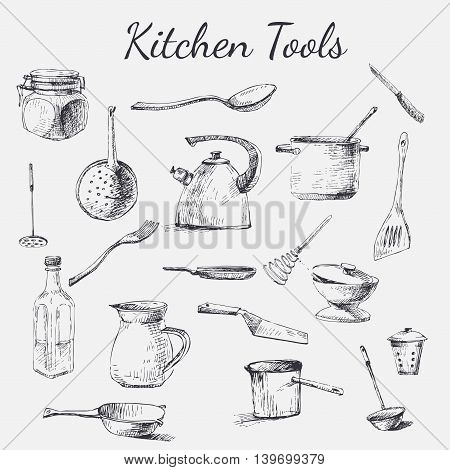 Vector hand drawn kitchen tools. Black and white vintage kitchen tools made with ink for your paper polygraphy fabric web design