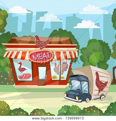 Meat shop cartoon butcher store facade building vector
