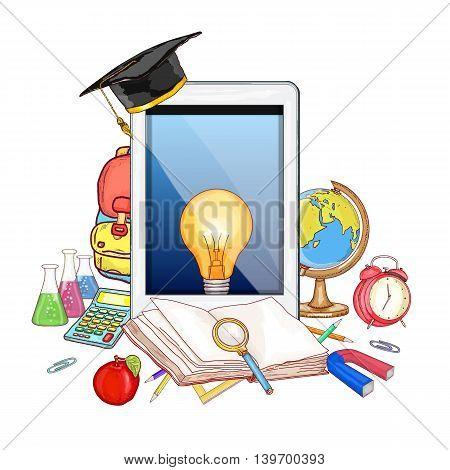 Online education modern effective learning vector set