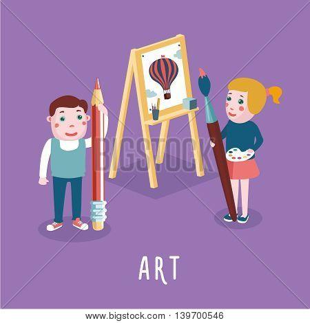 Cartoon style illustration. Children study art. Education concept