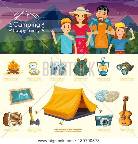 Camping family infographics cartoon hiking and outdoor recreation vector