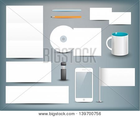 Corporate identity templates. Corporate identity templates blank, business cards, disk, envelope, smart phone, pen, pencil, flag, cup, usb flash driver. Isolated with soft shadows