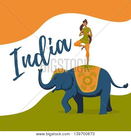 Illustration for the India independence day. Girl riding on elephant
