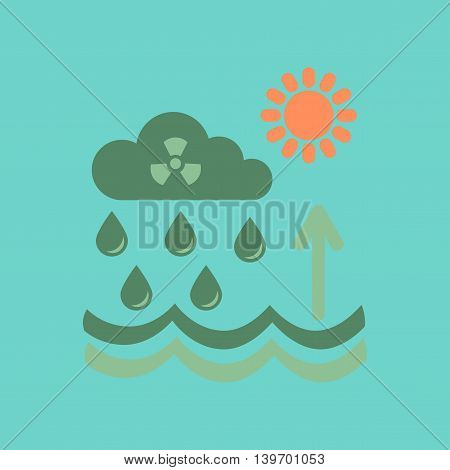 flat icon on stylish background nature Radioactive cloud and rain