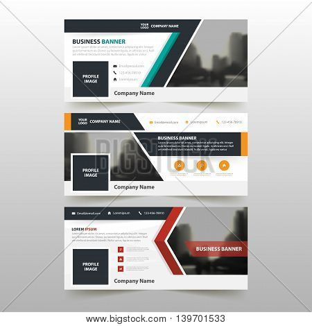 Orange Green red corporate business banner template horizontal advertising business banner layout template flat design set clean abstract cover header background for website design