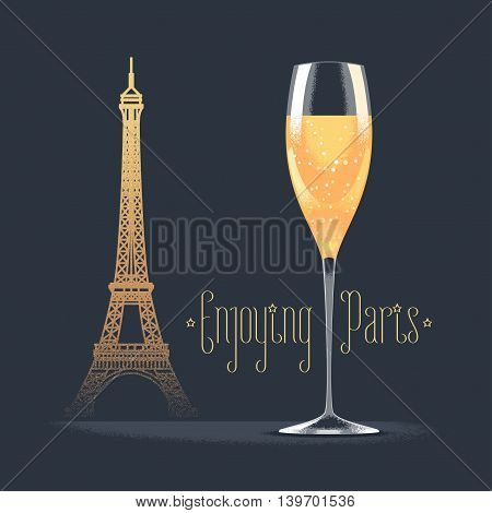 French Eiffel tower and glass of champagne vector illustration. Visit France, Paris concept design element with French architecture symbol. Sparkling champagne as celebration icon