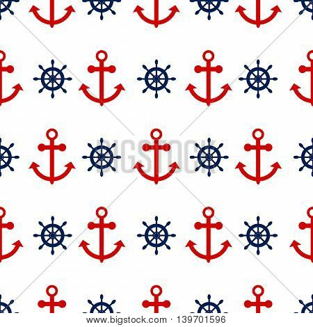 Seamless vector pattern with nautical anchors. Sea theme red anchor and blue helm repeat background.