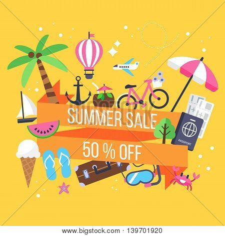 Summer Sale Banner Design With Icons For Holiday Vacation And Tourism