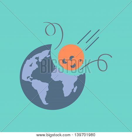 flat icon on stylish background nature meteorite earth