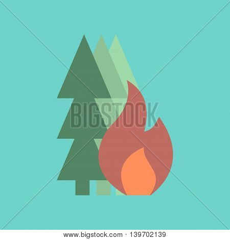 flat icon on stylish background nature forest fire